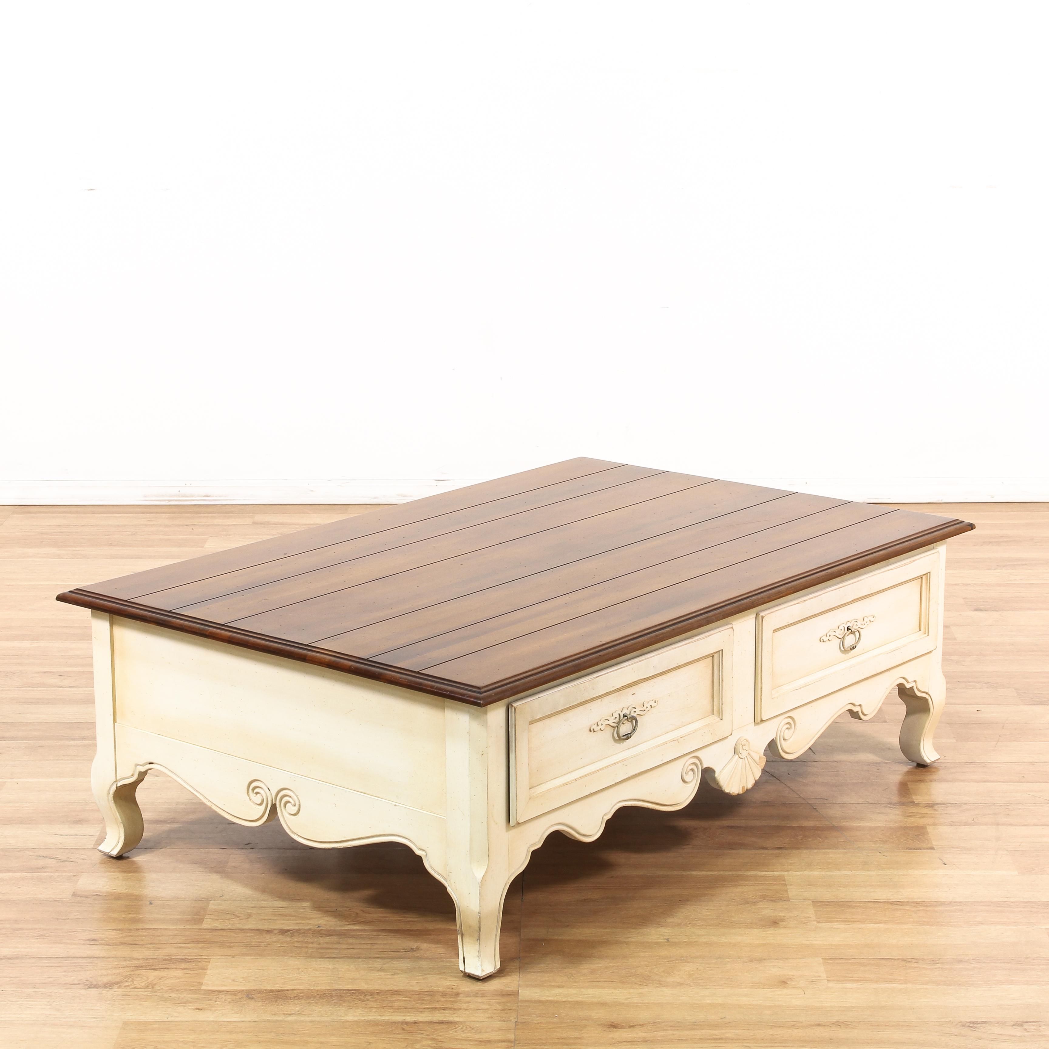 "Ethan Allen Trevor Coffee Table: ""Ethan Allen"" 2 Drawer Coffee Table"