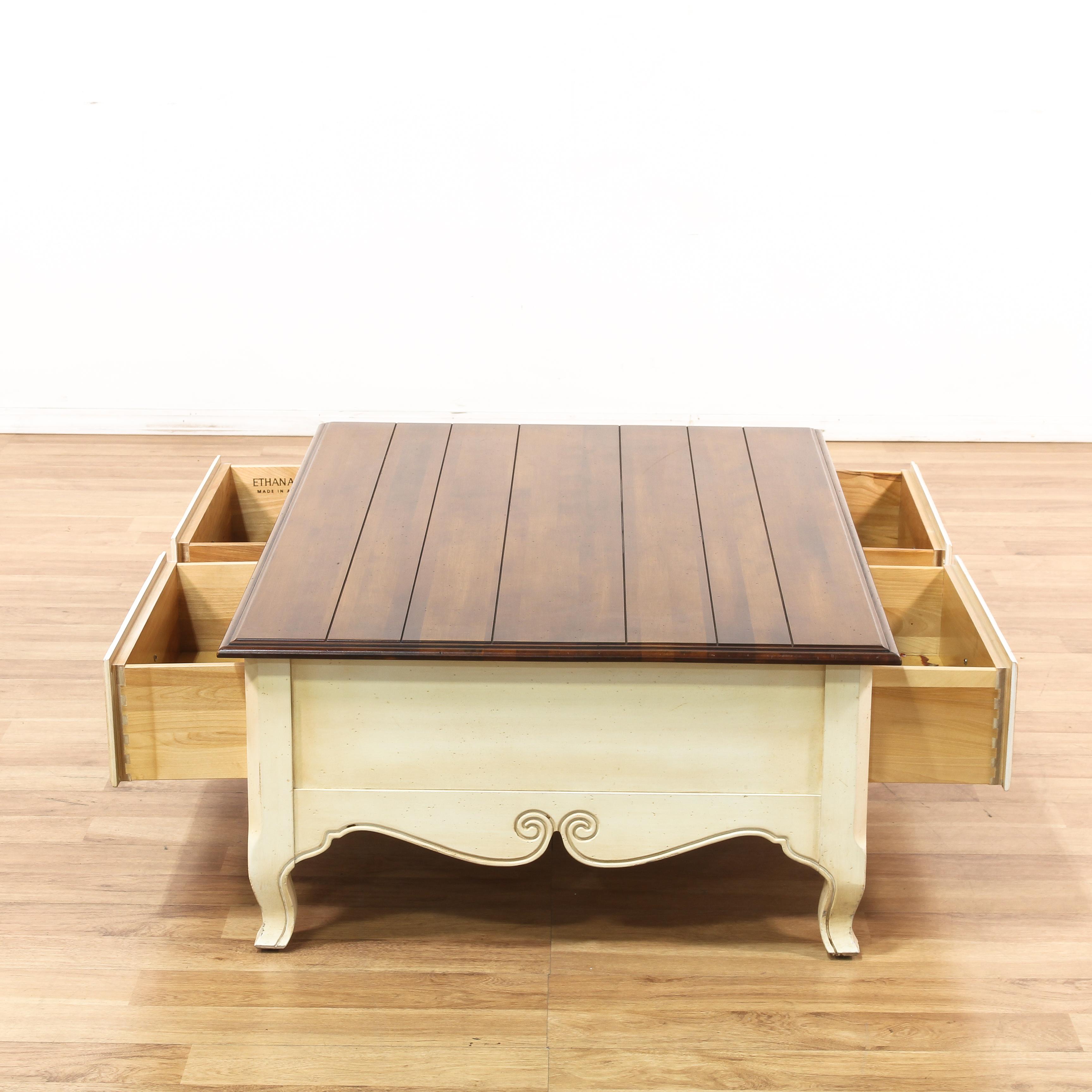 "Ethan Allen Hawthorne Coffee Table: ""Ethan Allen"" 2 Drawer Coffee Table"