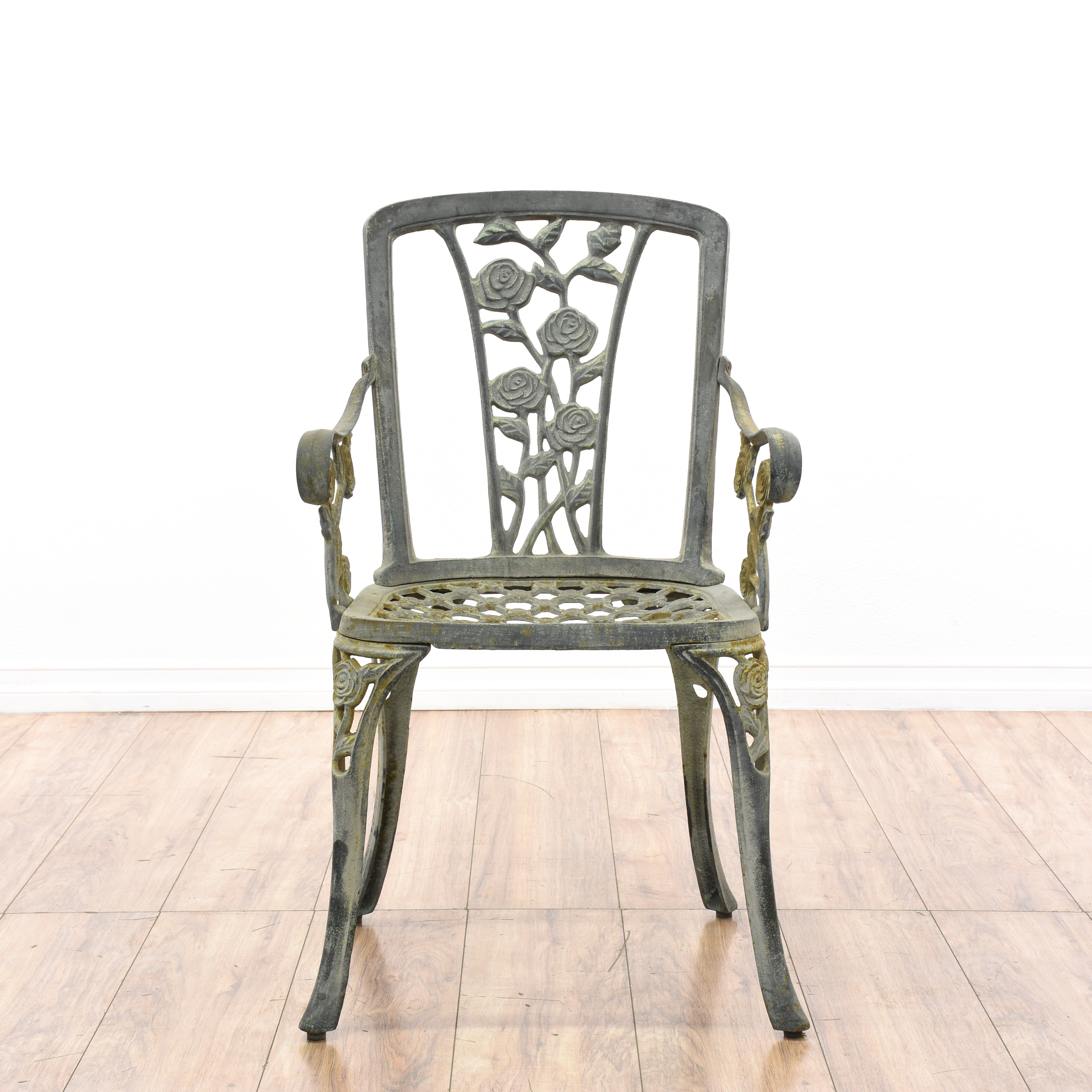 Pair Of Wrought Iron Patio Chairs Loveseat Vintage